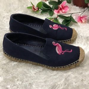 Talbots Navy + Pink Flamingo Embroidered Flats